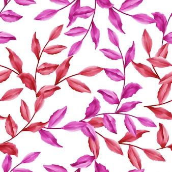 Красивые цветочные узоры листьев акварель красные листья