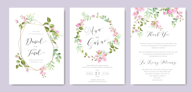 Beautiful floral and leaves frame and wedding background template