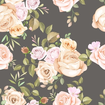 Beautiful floral and leaves seamless pattern