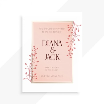 Beautiful floral leaves soft colors wedding invitation template