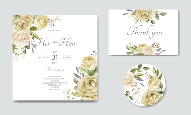 Beautiful floral leaves wedding invitation card template