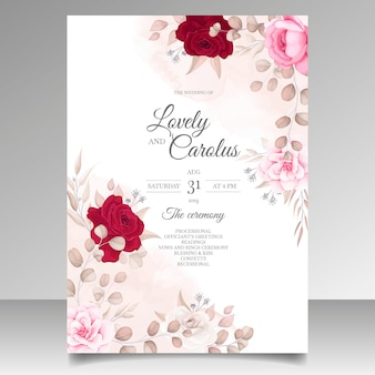 Beautiful floral and leaves wedding invitation card