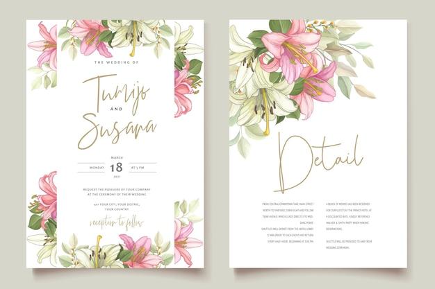 Пригласительный билет с красивыми цветочными цветами лилии