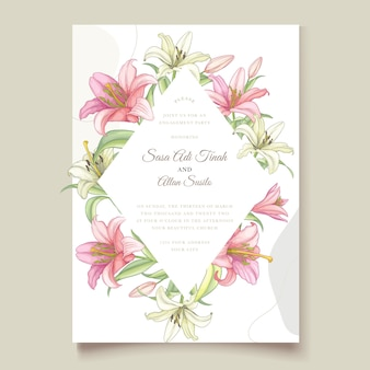 Beautiful floral lily flowers invitation card