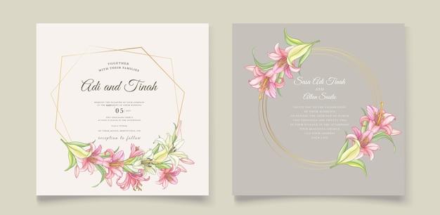 아름 다운 꽃 백합 꽃 초대 카드