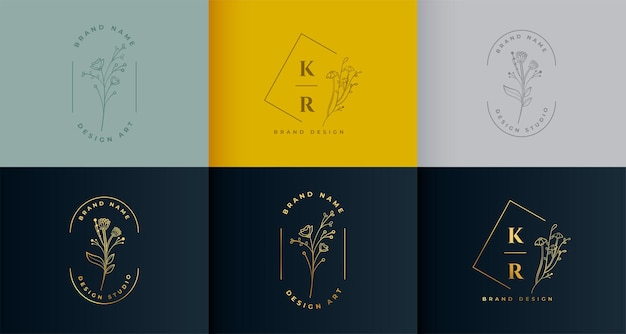 Bellissimo set di raccolta floreale logotipo