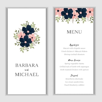 Beautiful floral menu card template