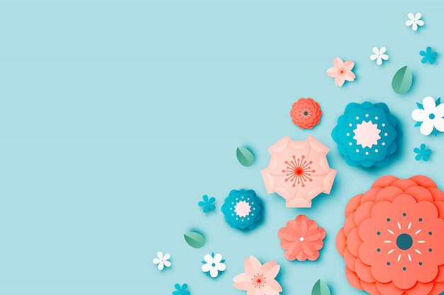 Beautiful floral paper art with pastel color