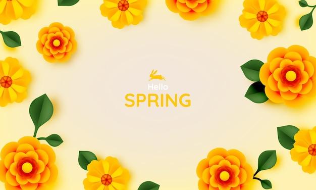 노란색 파스텔 컬러 Illustation와 아름다운 꽃 종이 예술 프리미엄 벡터