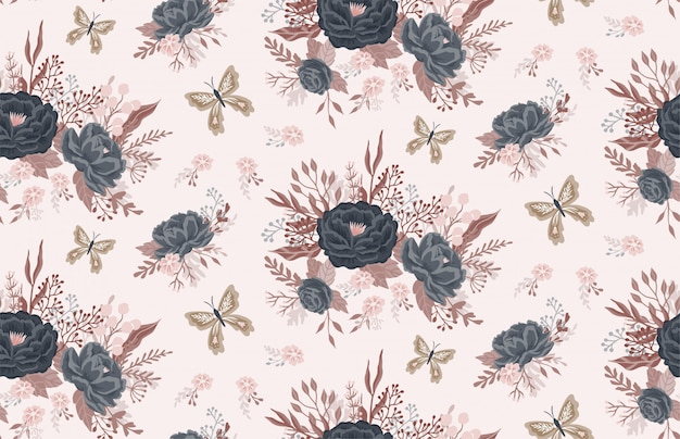 Beautiful floral pattern with a flowers and butterfly.