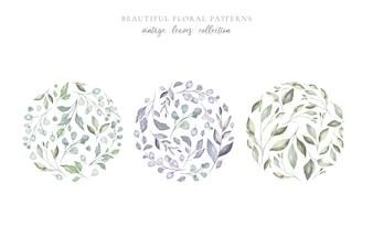 Красивые цветочные узоры с акварельными листьями