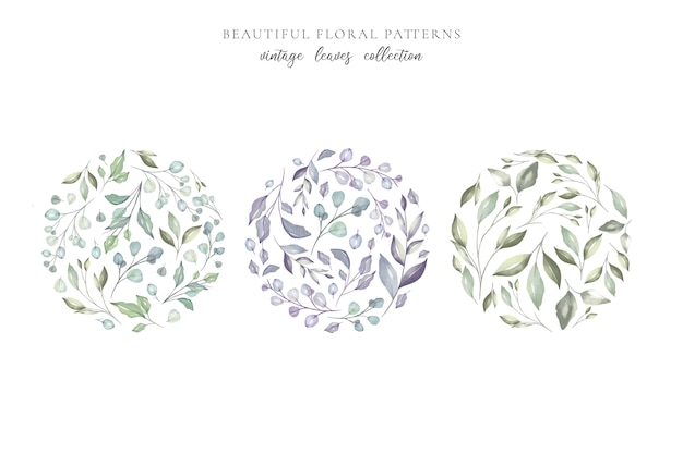 Beautiful floral patterns with watercolor leaves