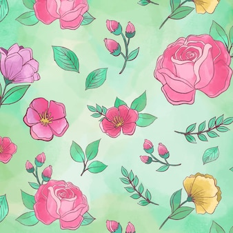 Beautiful floral peonies seamless pattern