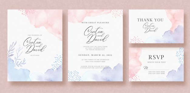 Beautiful  floral pink purple splash wedding invitation set