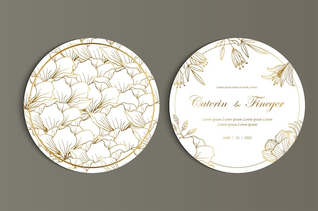 Beautiful floral round wedding card invitation template set