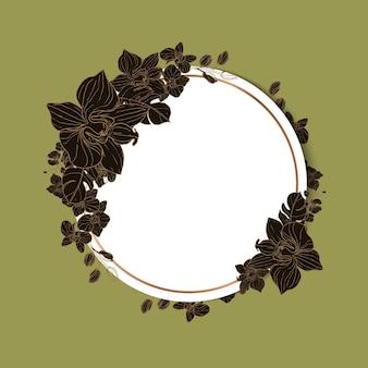 美しい花の丸いウェディングカードの招待状のテンプレート
