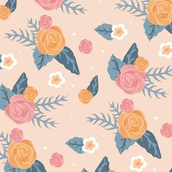 ピンクの背景の美しい花のシームレスなパターン