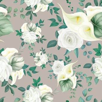 美しい花のシームレスなパターン白いユリとバラ
