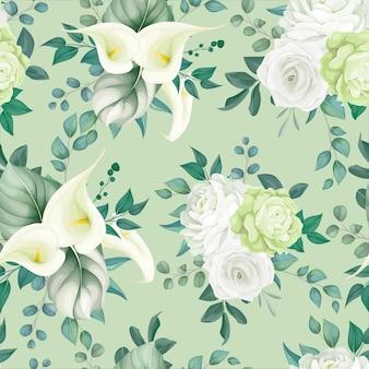 Красивые цветочные бесшовные белые лилии и розы