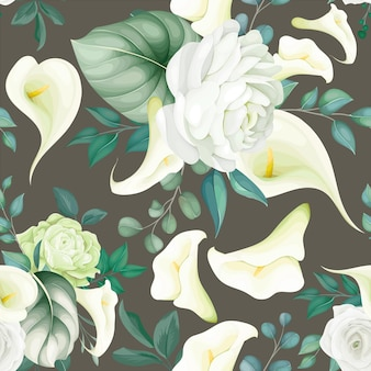 Beautiful floral seamless pattern white lily and rose