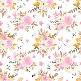 Beautiful floral seamless pattern with autumn flowers