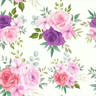 아름 다운 꽃과 함께 아름 다운 꽃 원활한 패턴
