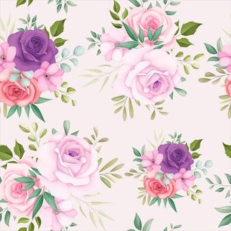 美しい花を持つ美しい花柄シームレス パターン