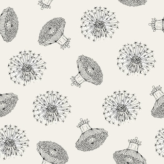 Beautiful floral seamless pattern with dandelion flower heads and blowballs hand drawn in antique style.