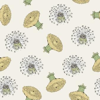 アンティークスタイルで描かれたタンポポの黄色い花の頭とブローボールの手で美しいシームレス花柄