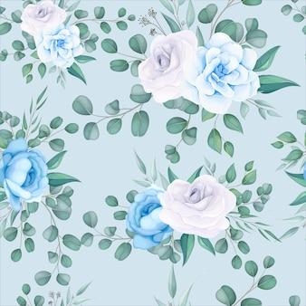 繊細な花飾りと美しい花のシームレスなパターン