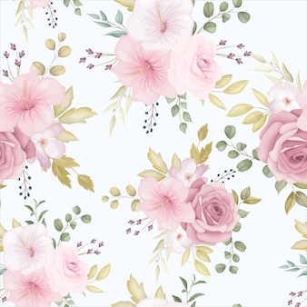 Beautiful floral seamless pattern with dusty pink flower
