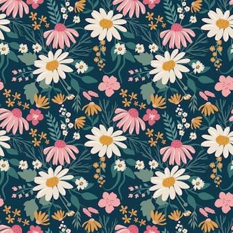 手描きのデイジーと美しい花のシームレスなパターン