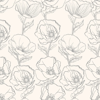 Beautiful floral seamless pattern with poppies on a beige background