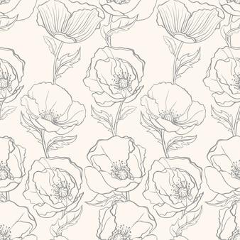 ベージュ色の背景にケシの美しいシームレス花柄