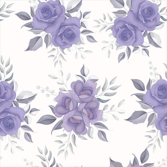 紫色の花と美しい花のシームレスなパターン