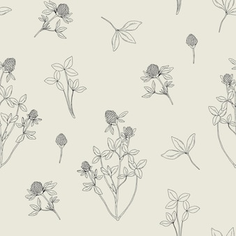 Beautiful floral seamless pattern with red clover on beige
