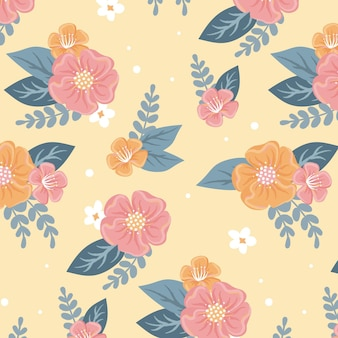 Beautiful floral seamless pattern on yellow background