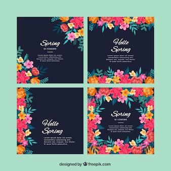 美しい花の春のグリーティングカードセット