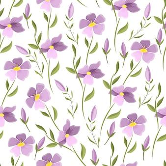 아름 다운 꽃 벡터 완벽 한 패턴입니다. 흰색 바탕에 섬세 한 초원 꽃입니다. 파스텔 색상입니다. 프리미엄 벡터