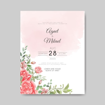 Beautiful floral vector wedding invitation card