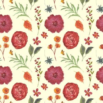美しい花の水彩画秋のシームレスパターン Premiumベクター