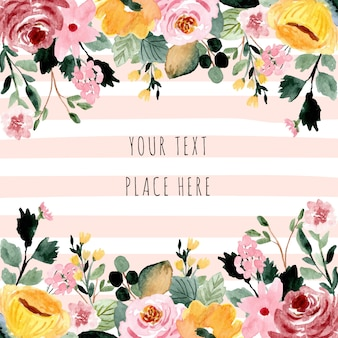 Beautiful floral watercolor background frame