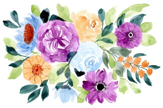 아름 다운 꽃 수채화 배경