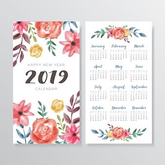 Beautiful floral watercolor calendar 2019 design