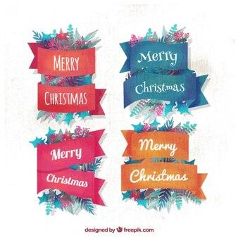 Красивые цветочные акварель рождественские значки