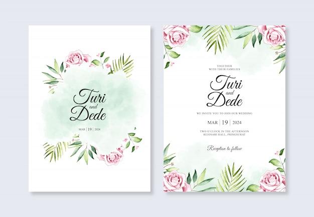 結婚式招待状テンプレートの美しい花の水彩画