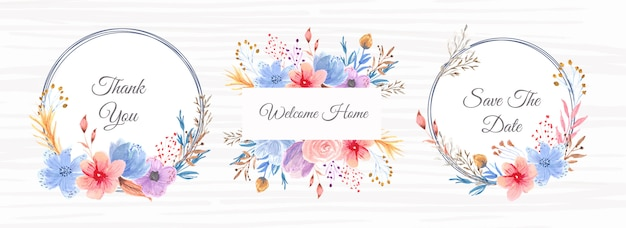 Beautiful floral watercolor frame banner