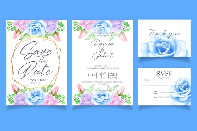 Beautiful floral watercolor invitation wedding party