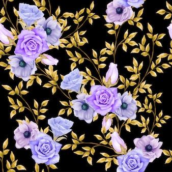 Beautiful floral watercolor leaves seamless pattern elegant