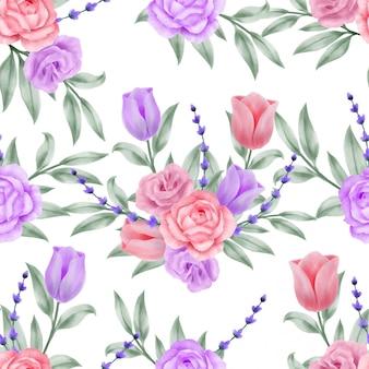 Beautiful floral watercolor leaves seamless pattern luxury